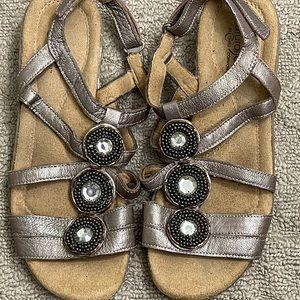 Natural Soul Comfort Jewel Leather Sandals Bronze